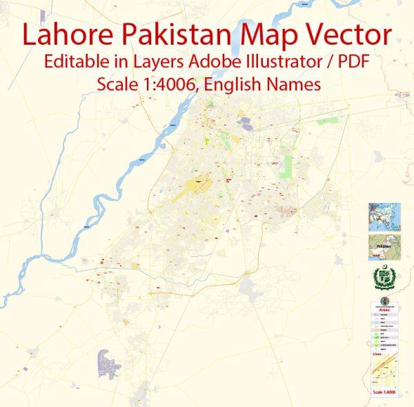 Printable Vector Map of Lahore Pakistan EN detailed City Plan scale 1:4006 full editable Adobe Illustrator Street Map in layers