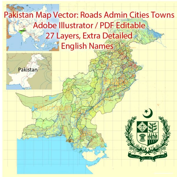 Pakistan Vector Map Full Country Extra detailed Road Admin ENG 01 printable Adobe Illustrator Editable Map in 27 layers