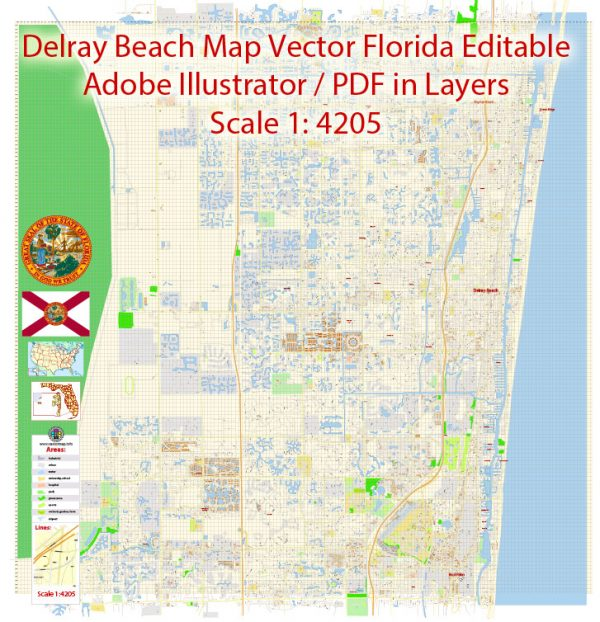Printable Vector Map of Delray Beach Florida US detailed City Plan scale 1:4205 full editable Adobe Illustrator Street Map in layers