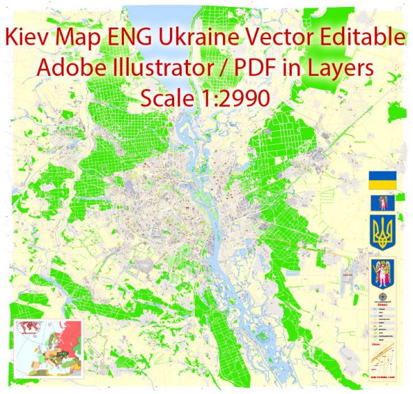 Printable Vector Map of Kiev Ukraine EN detailed City Plan scale 1:2990 editable Adobe Illustrator Street Map in layers text formatall names, 30 mbZIP