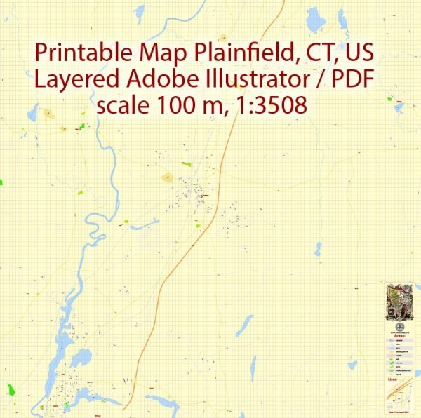 Printable PDF Vector Map of Plainfield Connecticut US detailed City Plan scale 1:3508 full editable Adobe PDF Street Map in layers