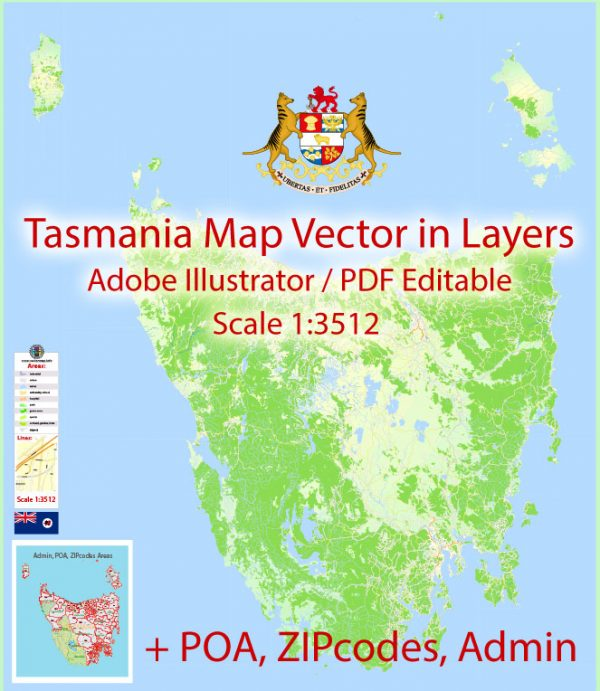 Tasmania Map Vector Full Extra Detailed exact Islands Plan scale 1:3512 editable Adobe Illustrator Street Roads Map in layers