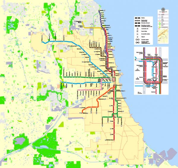 Chicago City Map CDR Vector Illinois US exact Street Map full editable CorelDraw Printable City Plan + admin + subway in Layers