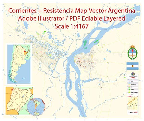 Corrientes + Resistencia Vector Map Argentina detailed City Plan editable Adobe Illustrator Street Map