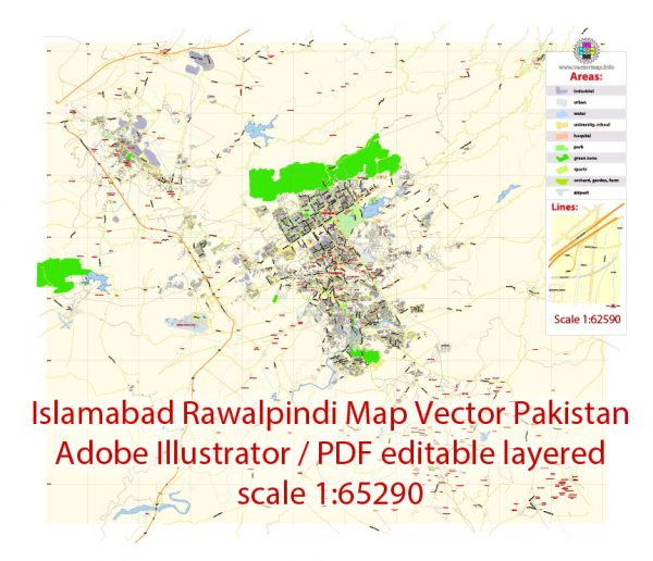 Printable Vector Map of Islamabad + Rawalpindi Pakistan EN low detailed City Plan scale 1:65290 editable Adobe Illustrator Street Map in layers for small pint size