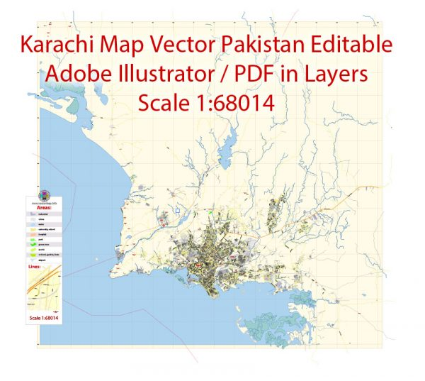 Printable Vector Map of Karachi Pakistan EN low detailed City Plan scale 1:68014 full editable Adobe Illustrator Street Map in layers for small print size