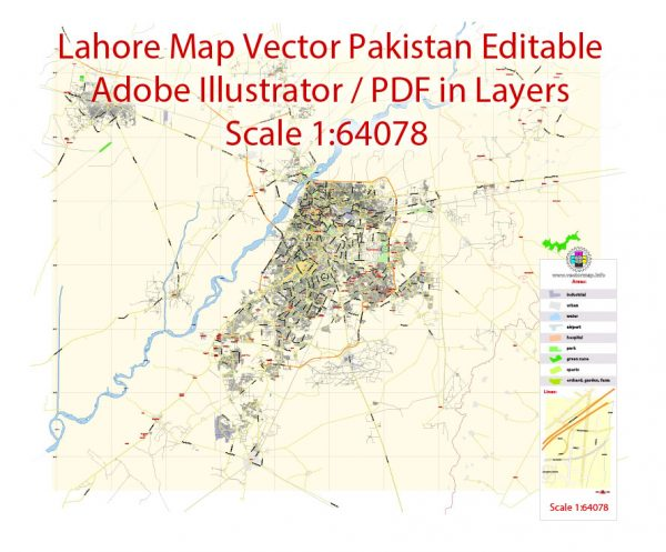 Printable Vector Map of Lahore Pakistan EN detailed City Plan scale 1:64078 full editable Adobe Illustrator Street Map in layers for small print size