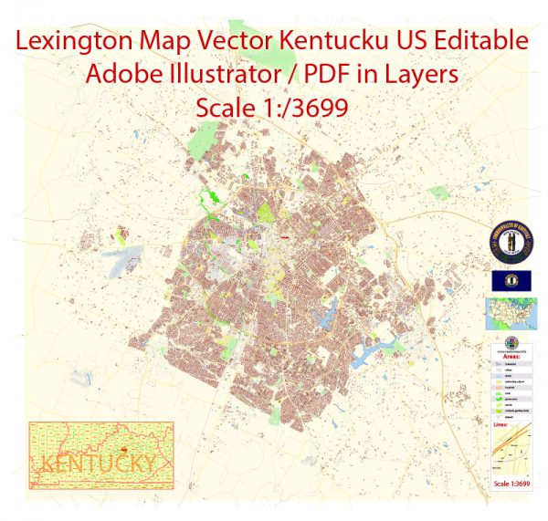 Printable Vector Map of Lexington Kentucky US detailed City Plan scale 1:4088 full editable Adobe Illustrator Street Map in layers