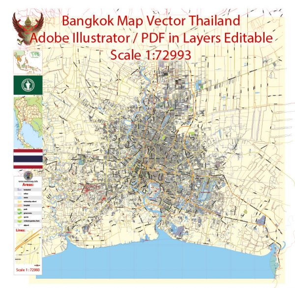 Printable Vector Map of Bangkok Thailand ENG low detailed City Plan for small print size scale 1:72993 full editable Adobe Illustrator Street Map in layers