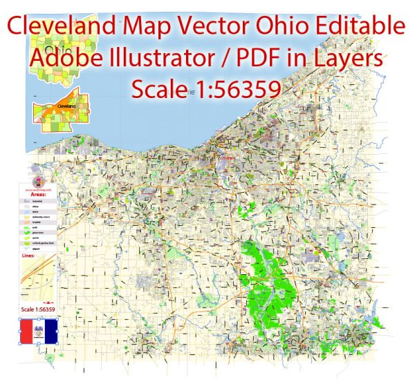 Printable Vector Map of Cleveland Ohio US low detailed City Plan for small print size scale 1:56359 full editable Adobe Illustrator Street Map in layers