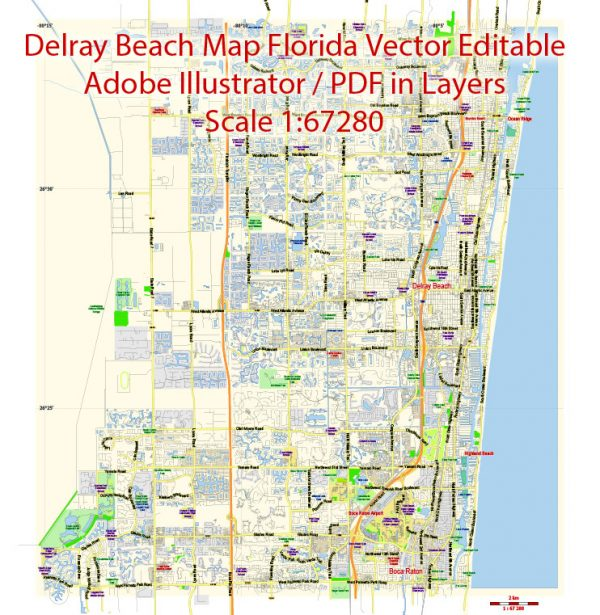 Printable Vector Map of Delray Beach Florida US low detailed City Plan for small print size scale 1:67280 full editable Adobe Illustrator Street Map in layers