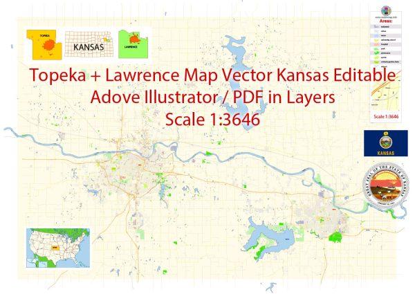 Topeka + Lawrence Map Vector Kansas US detailed City Plan editable Adobe Illustrator Street Map in layers