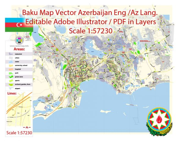Printable Vector Map of Baku Azerbaijan ENG / AZ Low detailed City Plan scale 1:57230 editable Adobe Illustrator Street Map in layers  for small size printing