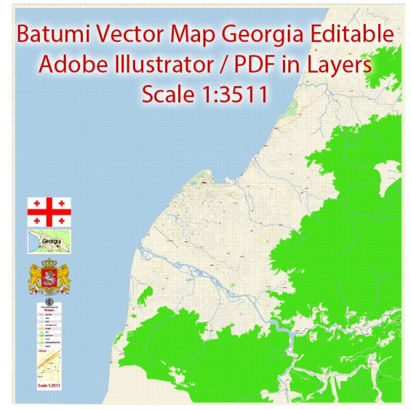 Printable Vector Map of Batumi Georgia EN detailed City Plan scale 1:3511 editable Adobe Illustrator Street Map in layers