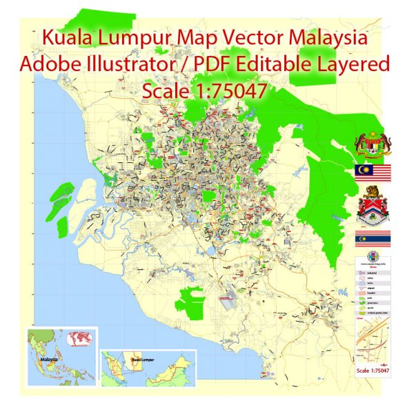 Printable Vector Map of Kuala Lumpur Malaysia ENG low detailed City Plan for small print size scale 1:75047 full editable Adobe Illustrator Street Map in layers