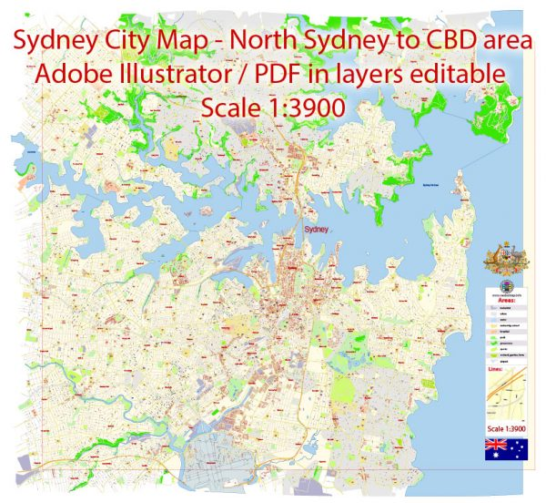 Sydney City Center Vector Map Australia exact printable City Plan editable layered Adobe Illustrator scale 1:3900 Street Map, scalable, text format all names