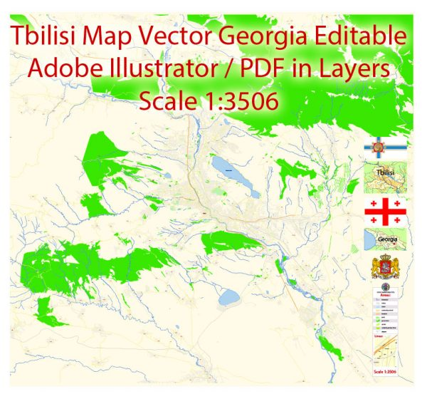 Tbilisi Vector Map Georgia EN detailed City Plan editable Adobe Illustrator Street Map in layers