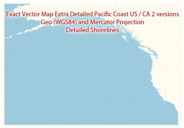 Printable Editable Vector Map Pacific Coast US / CA Extra detailed Adobe Illustrator in layers