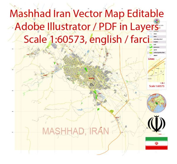 Printable Vector Map of Mashhad Iran Farci / Ehglish Low detailed City Plan scale 1:60573 full editable Adobe Illustrator Street Map in layers for small print size