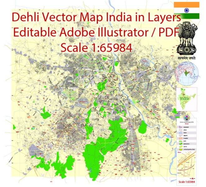 Printable Vector Map of Delhi India ENG low detailed City Plan for small print size scale 1:65984 full editable Adobe Illustrator Street Map in layers