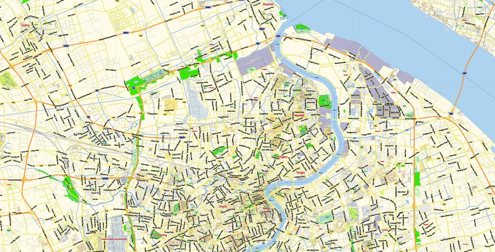 Street map Shanghai China AI ENG LOW