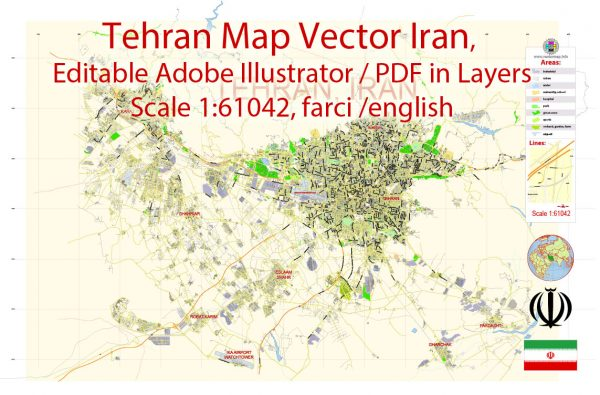 Printable Vector Map of Tehran Iran EN Low detailed City Plan scale 1:61042 full editable Adobe Illustrator Street Map in layers for small print size