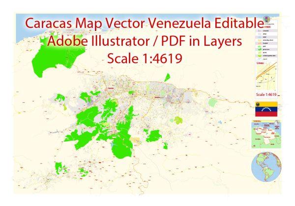 Caracas Vector Map Venezuela exact printable City Plan editable layered Adobe Illustrator extra detailed Street Map