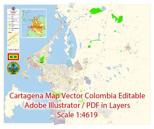 Printable VectorMap Cartagena Colombia exact extra detailed City Plan editable Adobe Illustrator scale 1:4619 Street Map in layers 5MbZIP