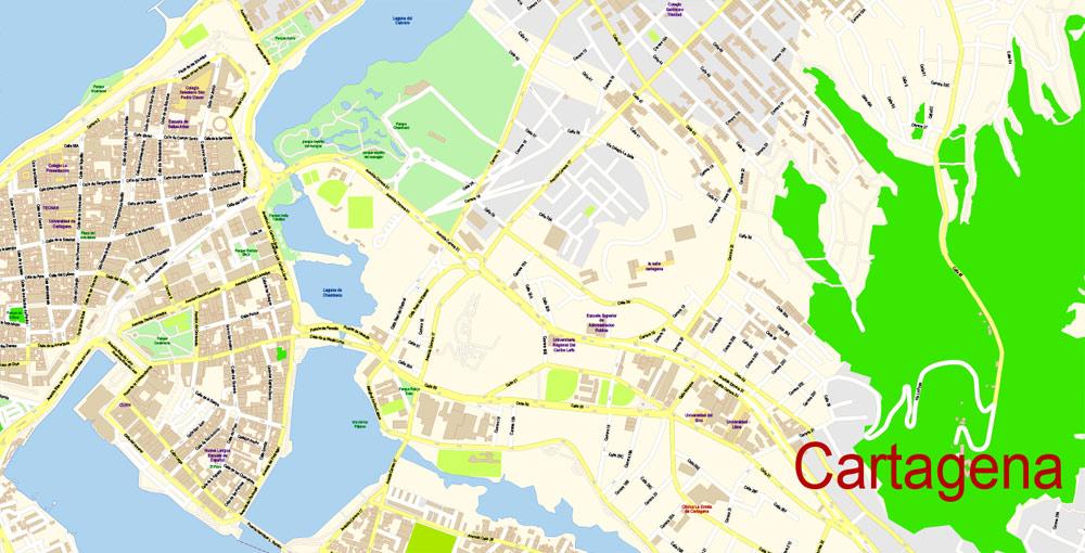 Street map Cartagena Colombia