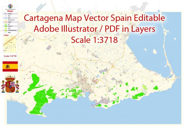 Printable Vector Map Cartagena Spain exact extra detailed City Plan editable Adobe Illustrator scale 1:3718 Street Map in layers 7 Mb ZIP