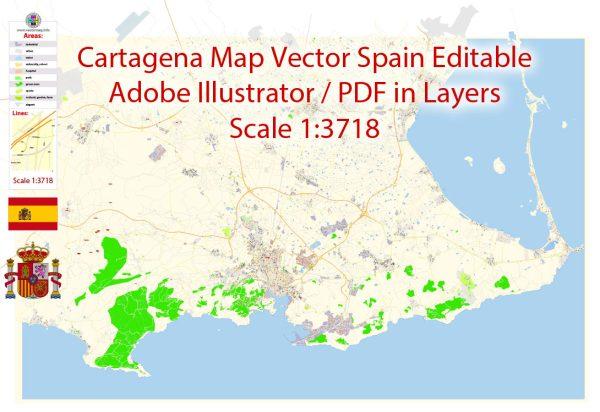 Printable VectorMap Cartagena Spain exact extra detailed City Plan editable Adobe Illustrator scale 1:3718 Street Map in layers 7MbZIP