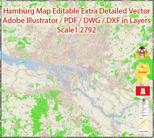 Printable Vector Map Hamburg Germany exact Extra Detailed City Plan scale 1:2792 editable Layered Adobe Illustrator Street Map 45 Mb ZIP