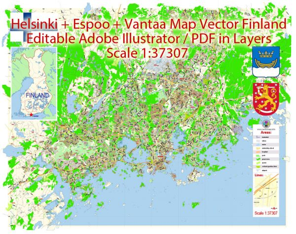 Helsinki + Espoo + Vantaa Map Vector Finland Low detailed City Plan editable Layered Adobe Illustrator Street Map