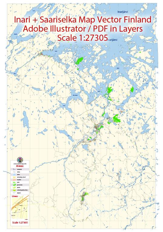 Inari + Saariselka Map Vector Finland Low detailed City Plan editable Layered Adobe Illustrator Street Map