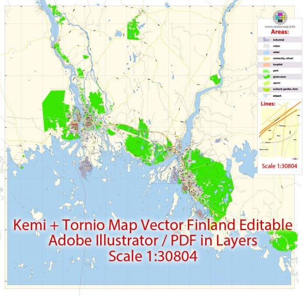 Kemi + Tornio Map Vector Finland Low detailed City Plan editable Layered Adobe Illustrator Street Map
