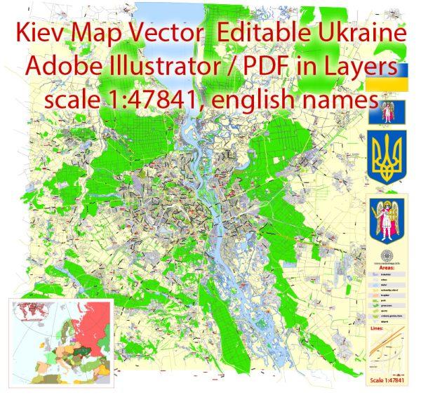 Kiev Vector Map Ukraine English City Plan Low Detailed editable Adobe Illustrator Street Map in layers