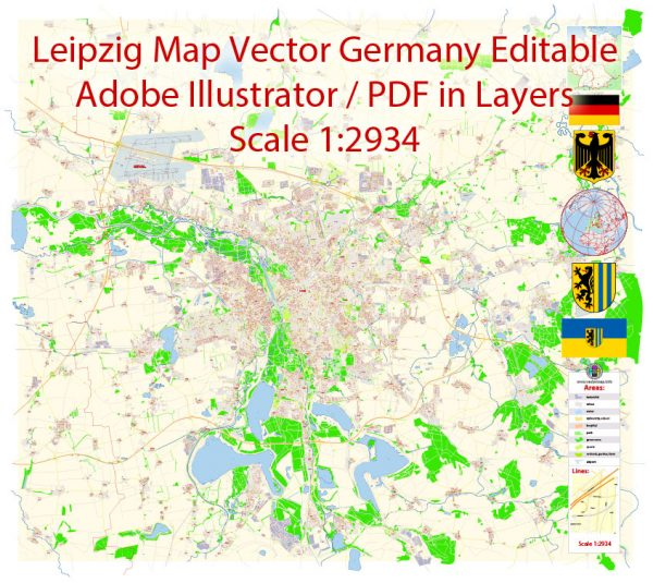 Printable VectorMap Leipzig Germany exact extra detailed City Plan editable Adobe Illustrator scale 1:2934 Street Map in layers