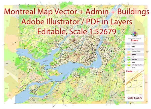 Printable Vector Map of Montreal City Canadaexact editable City Plan 2000 meters scale Adobe Illustrator in Layers text format all names