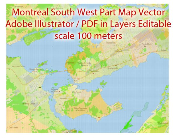 Montreal Canada Maps South-West Partexact vector editable City Plan 100 and 2000 meters scale 2 map in 1 archive Adobe Illustrator