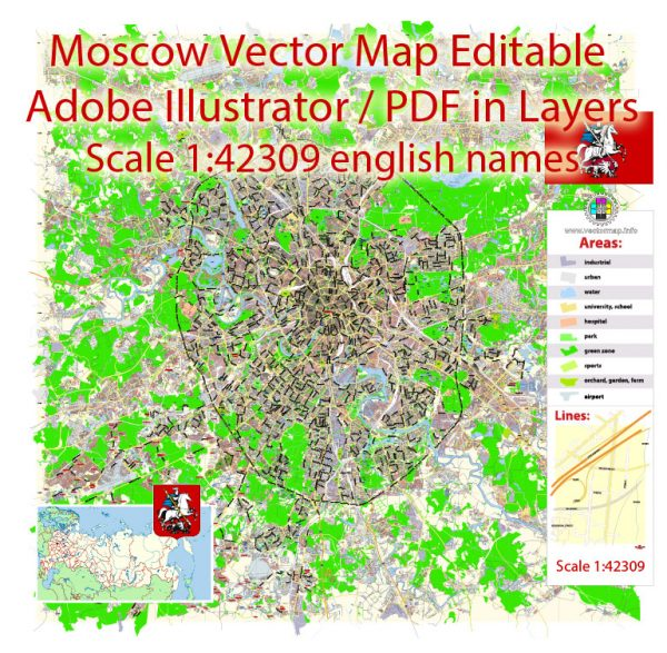 Moscow Map Vector Russia English Names City Plan Low Detailed editable Adobe Illustrator Street Map in layers