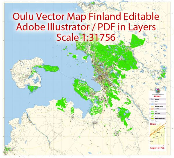 Oulu Map Vector Finland Low detailed City Plan editable Layered Adobe Illustrator Street Map