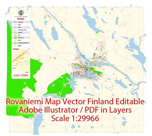 Rovaniemi Map Vector Finland Low detailed City Plan editable Layered Adobe Illustrator Street Map