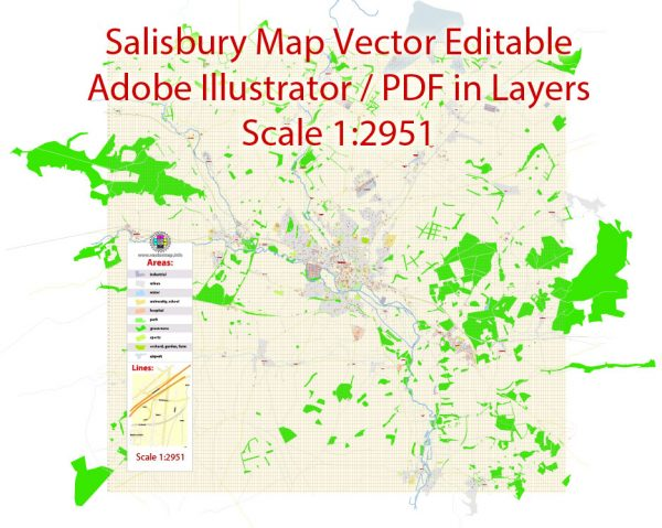 Printable Vector Map Salisbury UK exact Extra Detailed City Plan scale 1:2792 editable Layered Adobe Illustrator Street Map 2 Mb ZIP
