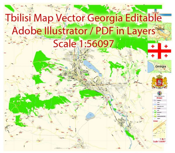 Printable Vector Map of Tbilisi Georgia EN Low detailed City Plan scale 1:56097 editable Adobe Illustrator Street Map in layers for Small size Printing