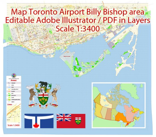 Toronto Billy Bishop City Airport Area Map Vector Canada Extra Detailed Plan Adobe Illustrator Street Map in Layers