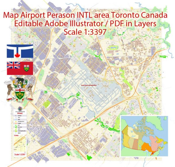Toronto Pearson International Airport Area Map Vector Canada Extra Detailed Plan Adobe Illustrator Street Map in Layers