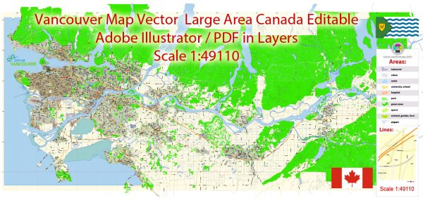Printable Vector Map Vancouver large long area British Columbia, Canada, exact vector in layers scale 1:49110, full editable, Adobe Illustrator