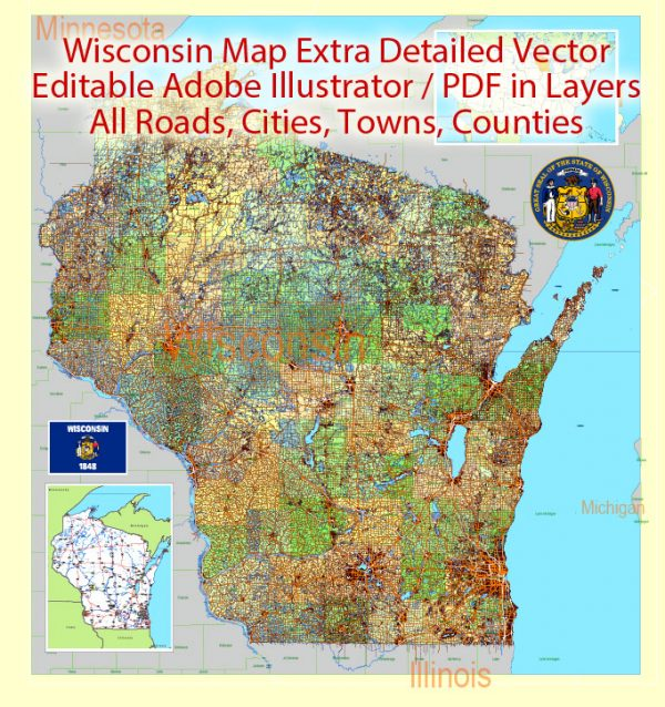 Wisconsin State Vector Map exact extra detailed All Roads, Cities and Counties map editable Layered Adobe Illustrator