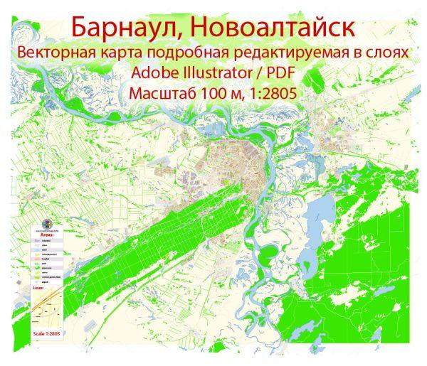 Барнаул + Новоалтайск векторная карта Россия подробная редактируемая в слоях, Adobe Illuetrator