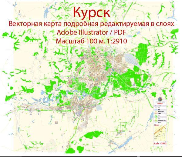 Курск векторная карта Россия подробная редактируемая в слоях, Adobe Illustrator